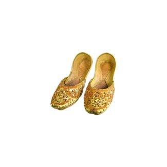 Indische Ballerinas Schuhe aus Leder - Gelbgold