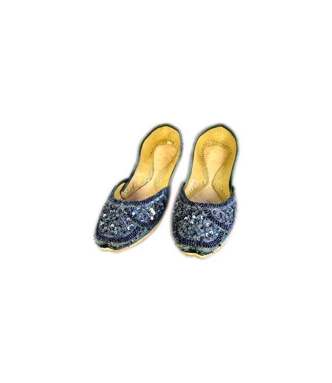 Orientalische, Indische Pailletten Ballerinas Schuhe aus Leder - Dunkelgrau