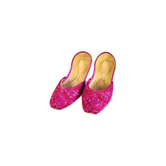 Indische Ballerinas Schuhe aus Leder - Pinkviolett
