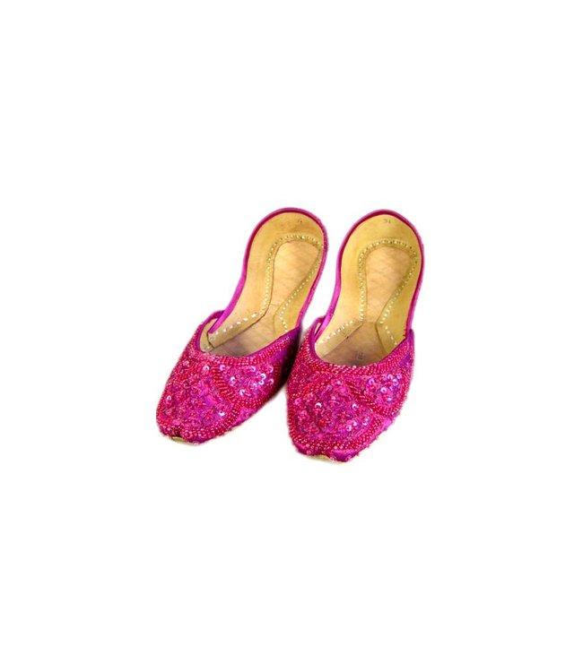 Sequins Ballerina Leather Shoes - Pink Violet