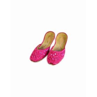 Indische Ballerinas Schuhe aus Leder - Pink