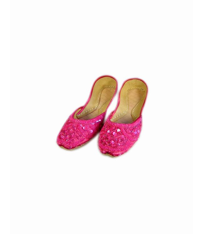 Sequins Ballerina Leather Shoes - Pink