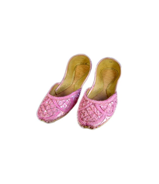 Sequins Ballerina Leather Shoes - Light Pink