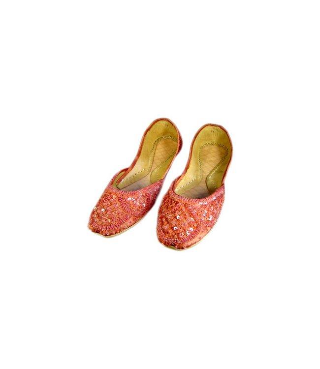 Orientalische Ballerinas Schuhe aus Leder - Lachsrot