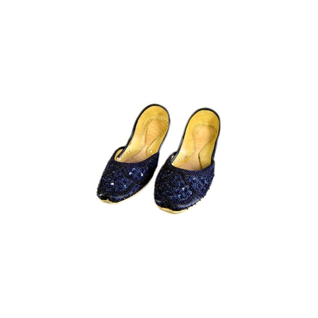 Orientalische, Indische Pailletten Ballerina Schuhe aus Leder Dunkelblau