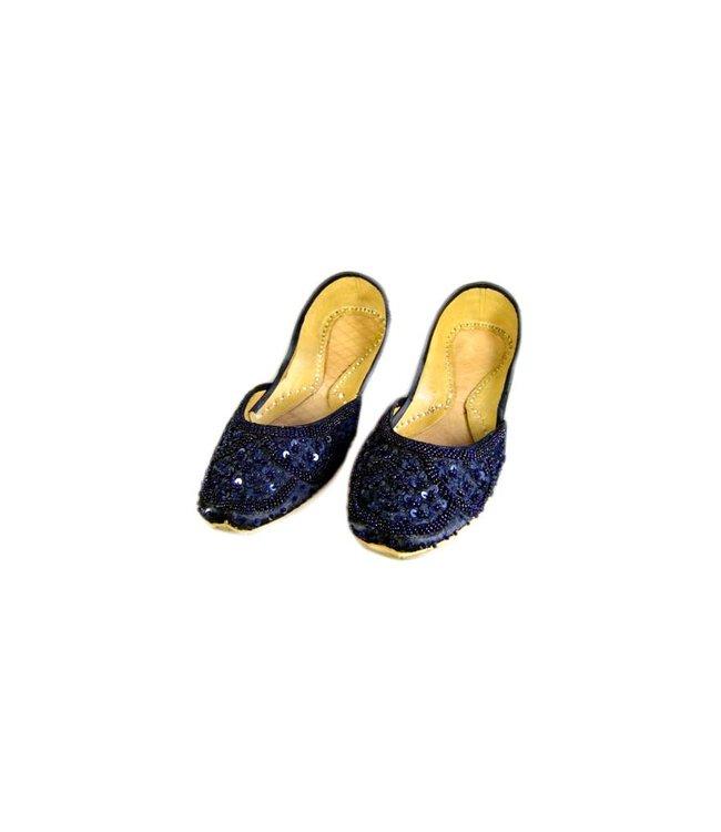 Orientalische, Indische Pailletten Ballerina Schuhe aus Leder - Dunkelblau