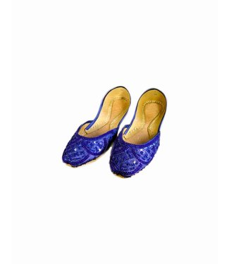 Sequins Ballerina Leather Shoes - Blue