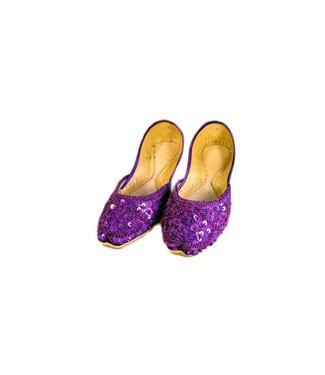 Indische Pailletten Ballerinas Schuhe aus Leder - Violett