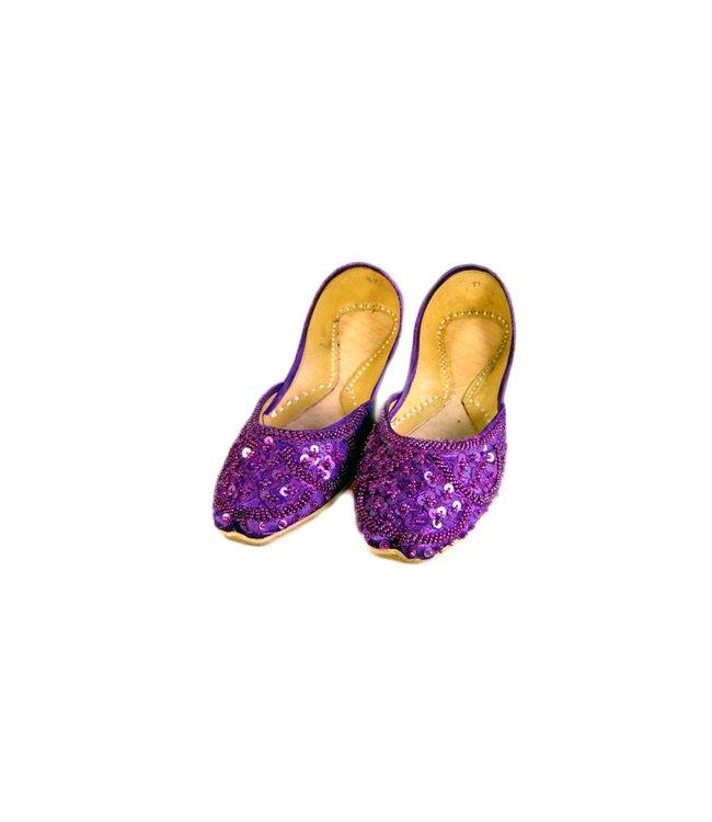 Orientalische, Indische Pailletten Ballerina Schuhe aus Leder - Violett