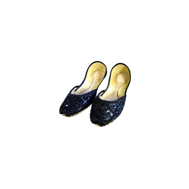 Sequins Ballerina Leather Shoes - Black