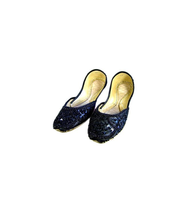 Indische Ballerina Schuhe aus Leder - Schwarz