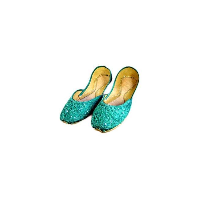 Indische Ballerinas Schuhe aus Leder - Grün