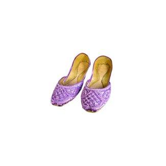 Sequins Ballerina Leather Shoes - Light Violet