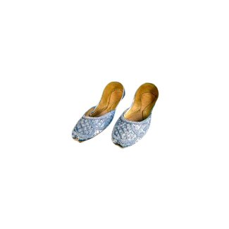Sequins Ballerina Leather Shoes - Gray