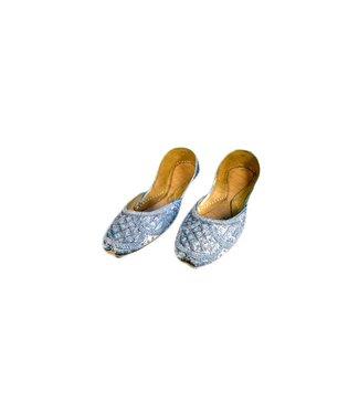 Indische Ballerinas Schuhe aus Leder - Grau