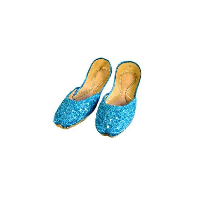 Indische Pailletten Ballerinas Schuhe aus Leder - Türkis