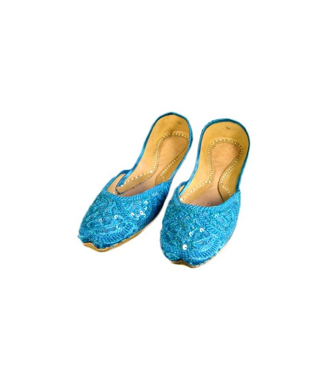 Sequins Ballerina Leather Shoes - Turquoise