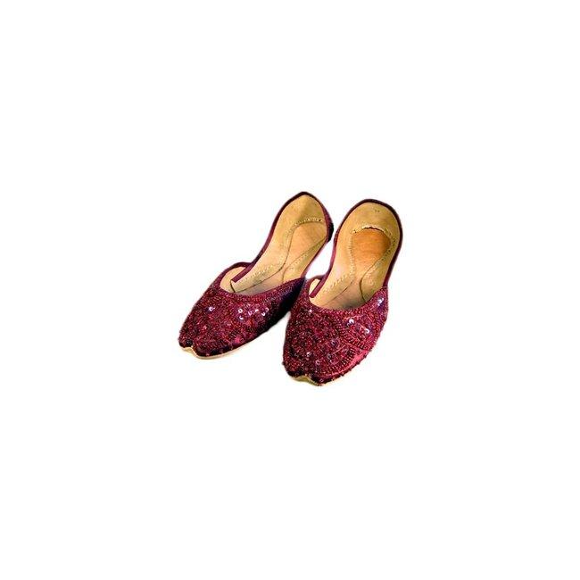 Indische Ballerinas Schuhe aus Leder - Dunkelrot