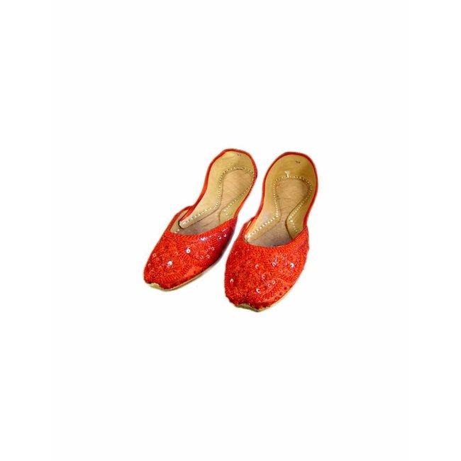 superior quality 9f830 0ebe3 Orientalische, Indische Pailletten Ballerinas Schuhe aus Leder - Rot