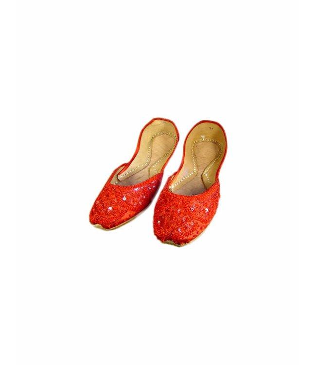 Orientalische, Indische  Pailletten Ballerinas Schuhe aus Leder - Rot