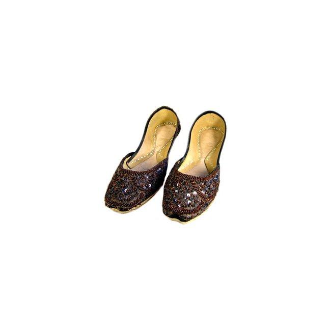 Indische Ballerinas Schuhe aus Leder - Dunkelbraun