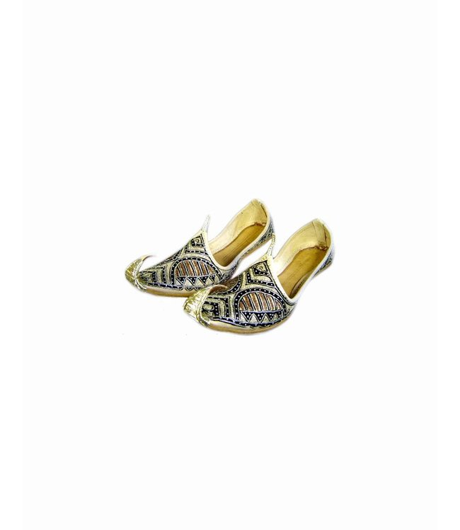 Orientalische, indische Khussa Schuhe Damen mit Stickerei - Schwarz-Gold