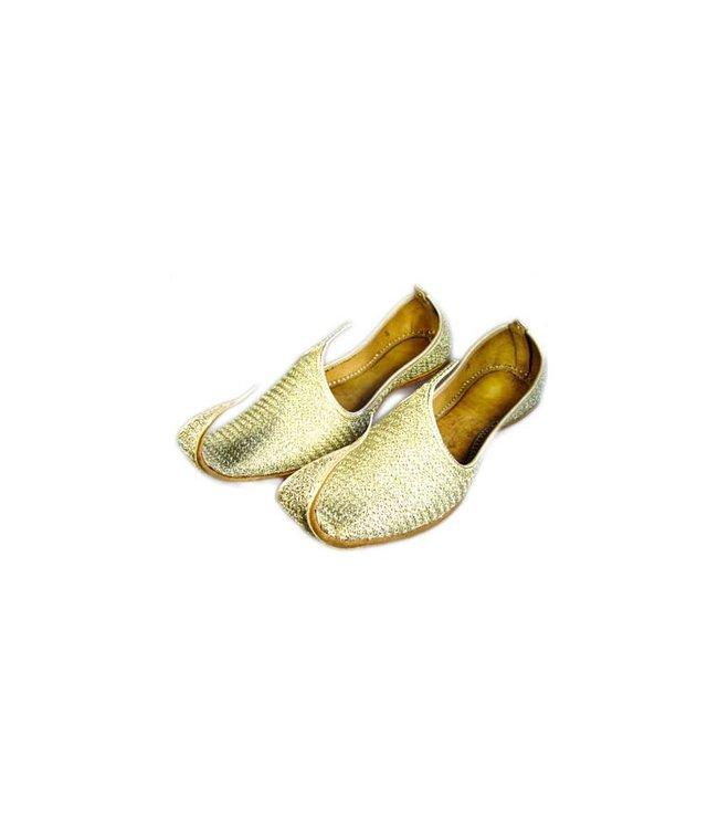 Orientalische, indische Khussa Schuhe für Damen mit Stickerei - Gold