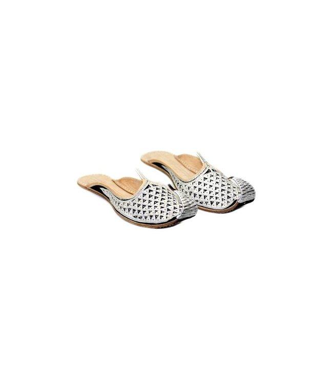 Orientalische, Indische Khussa Schuhe Damen mit Stickerei - Schwarz-Silber
