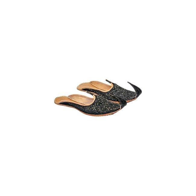 Orientalische Indische Khussa Schuhe in Schwarz