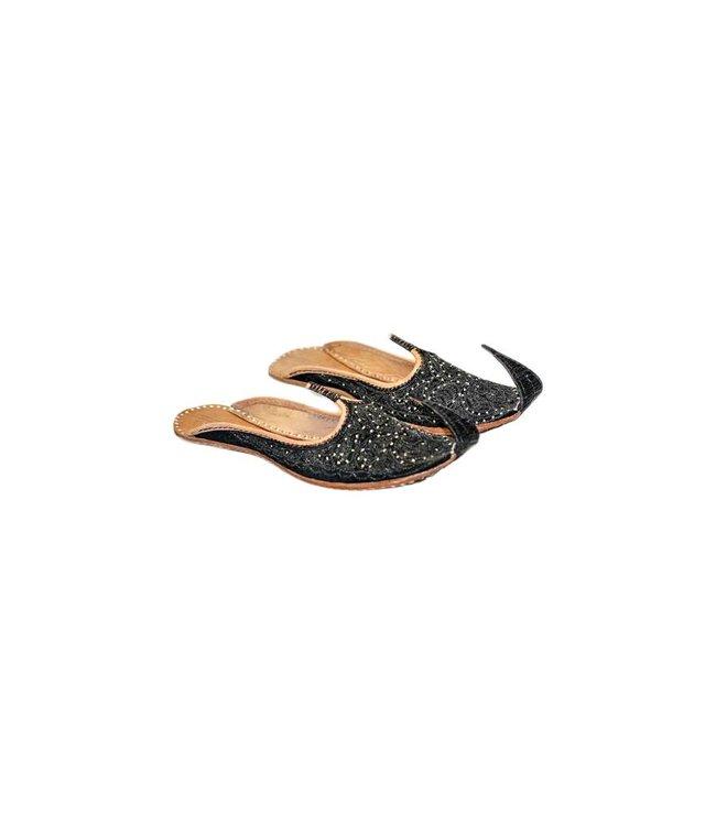 Orientalische, Indische  Khussa Schuhe Damen mit Stickerei - Schwarz