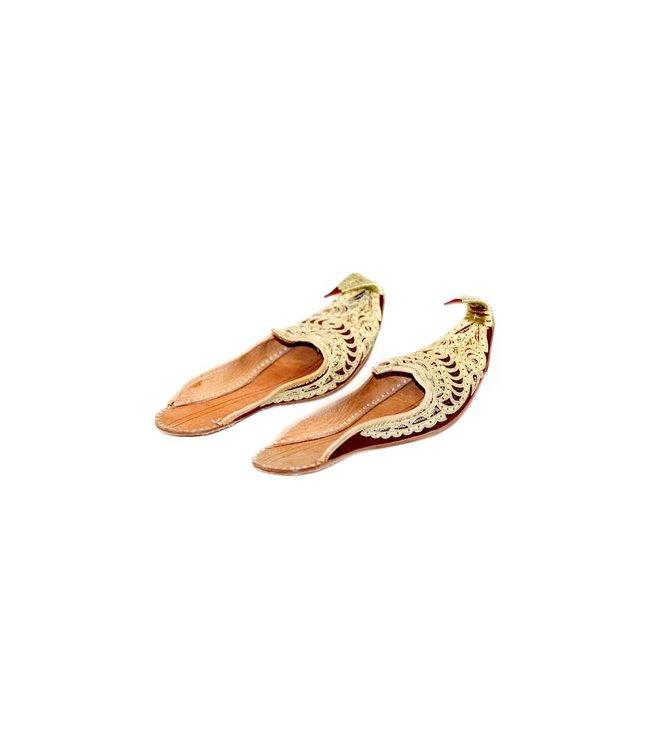 Offene Orientalische Indische Khussa Schuhe Damen - Gold-Rot