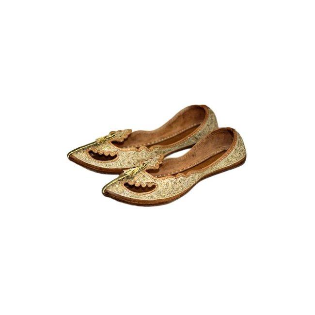 Orientalische, Indische Khussa Schuhe für Damen mit Stickerei Gold
