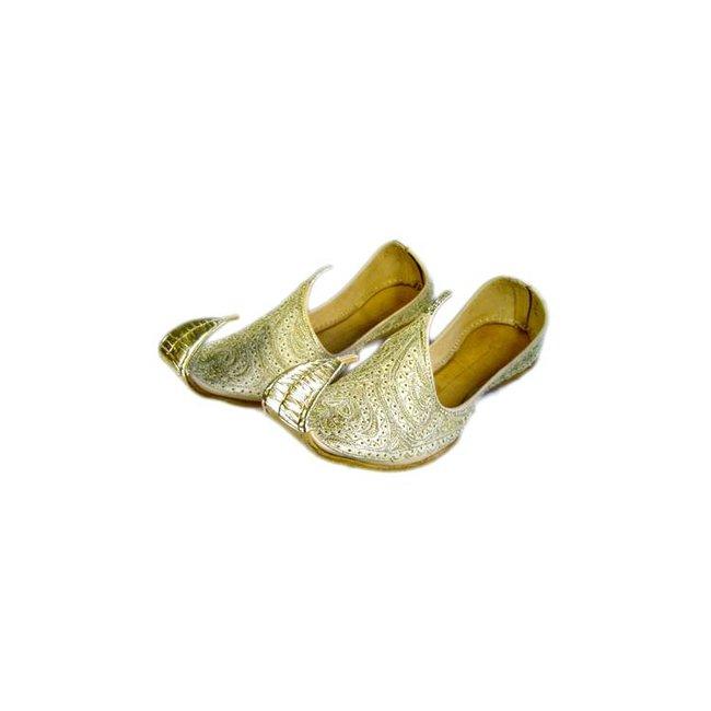 online retailer 5ba06 6edc2 Orientalischer, Indischer Khussa Schuh für Damen mit Stickerei - Gold