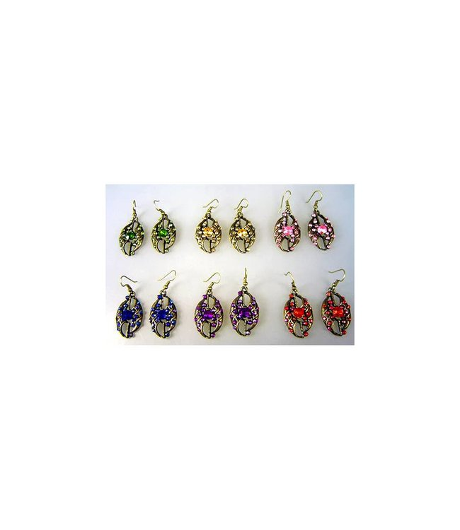 Earrings with colorful rhinestones - Dil