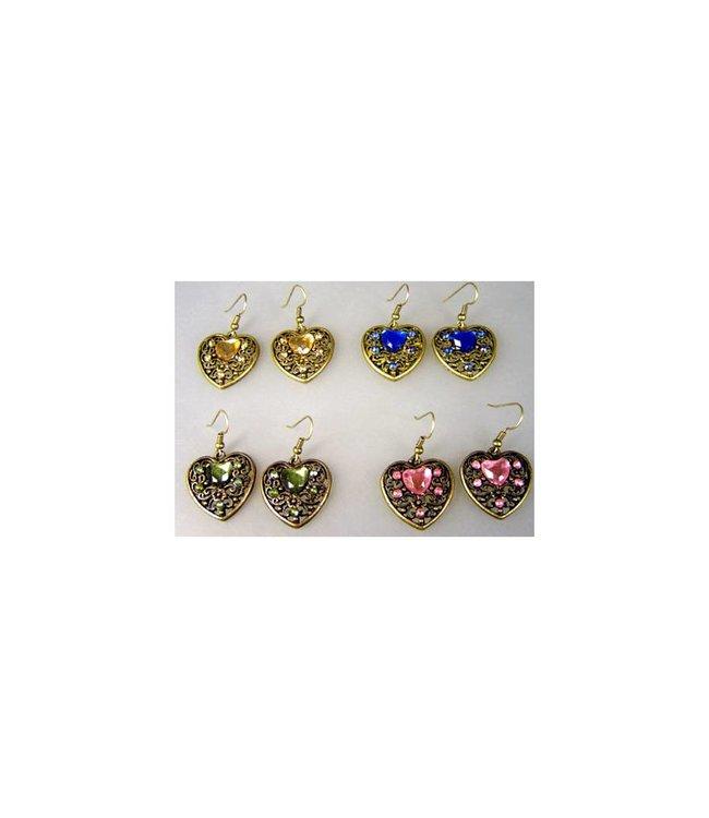 Flower earrings with colorful rhinestones