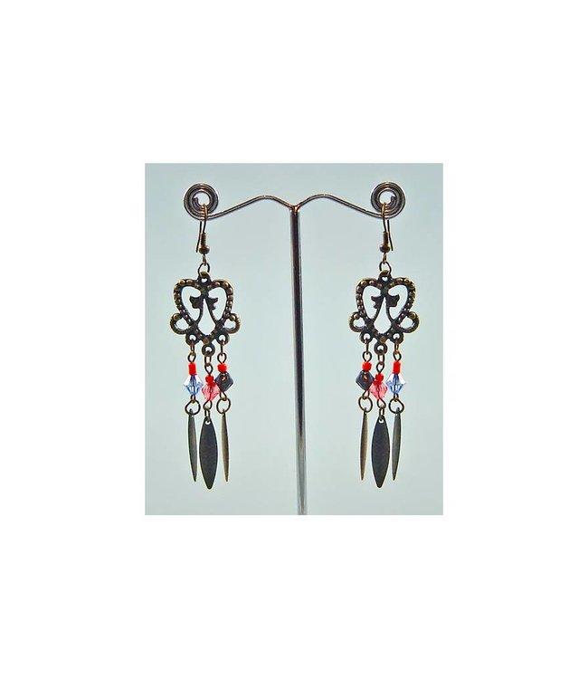 Oriental Tribal Chandelier Earrings - Gold Tone Blackened - Heart Shape