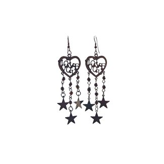 Drop Earrings Black Metallic - Love
