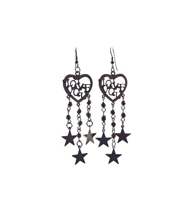 Drop Earrings Black Metallic - Love