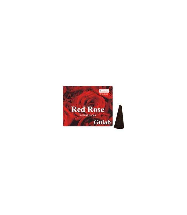 Darshan Räucherkegel Rose mit Halter (10 Stück)