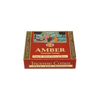 Darshan Räucherkegel Amber mit Halter (10 Stück)