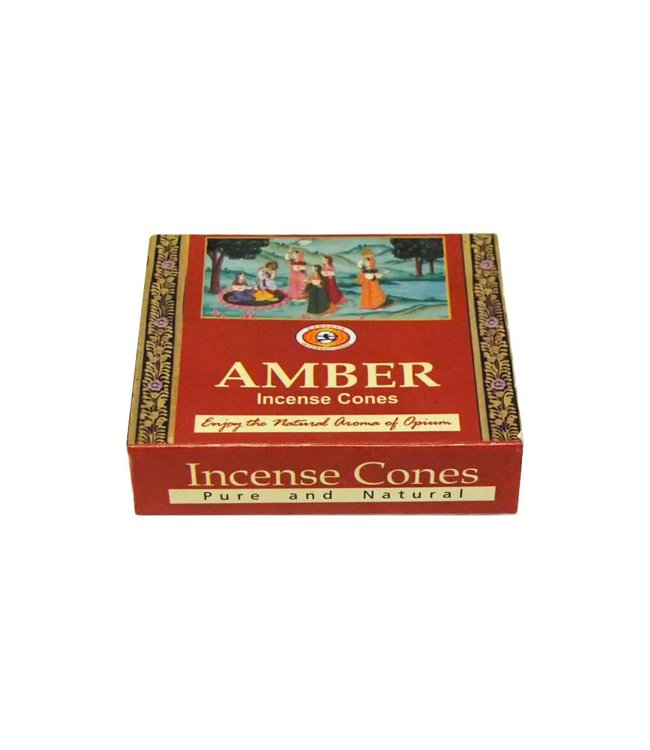 Darshan Incense cones Amber with holder (10 pieces)