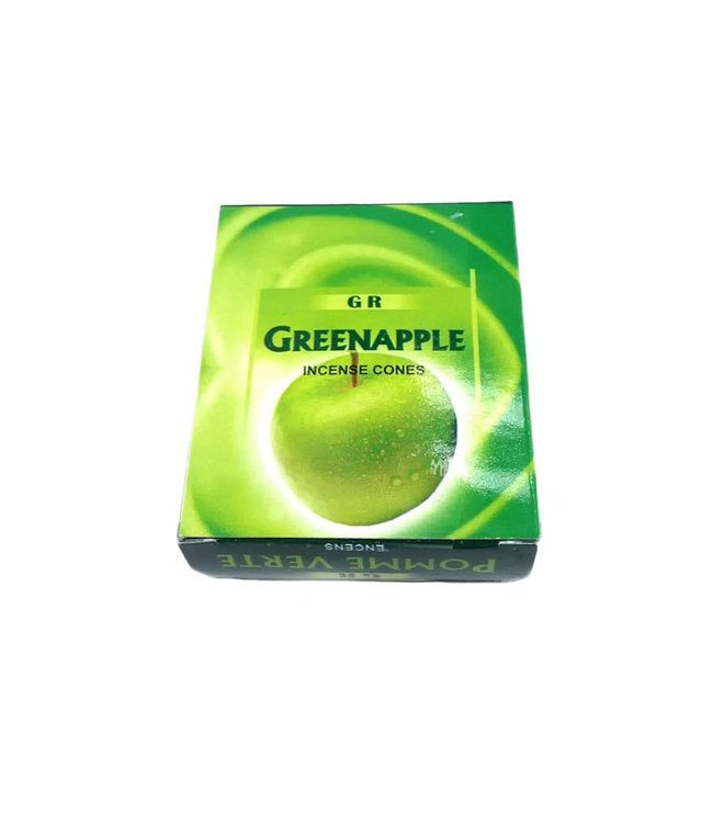 Incense cones green apple with holder (10 pieces)