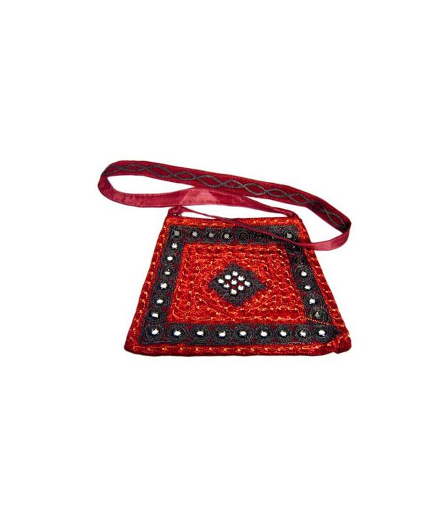 Shoulder bag with mirrors in dark red