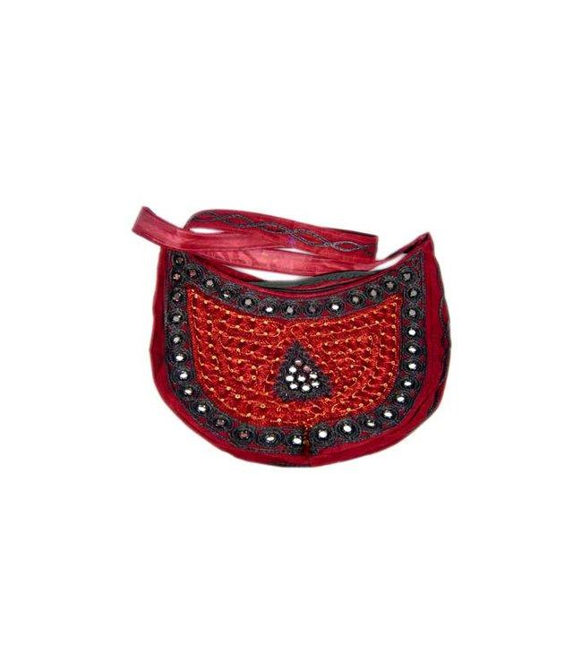 Shoulder bag with mirrors half-round in dark red