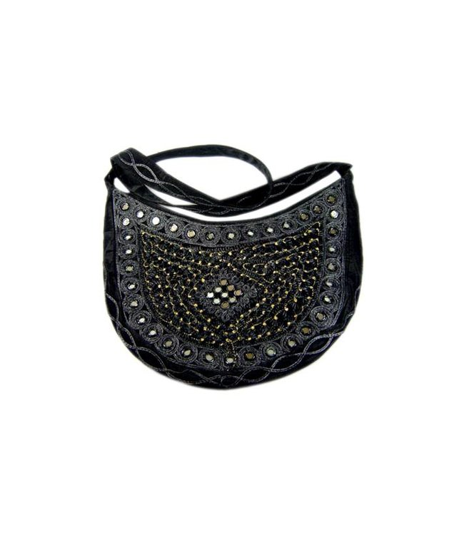 Shoulder bag with mirrors semicircle in Black