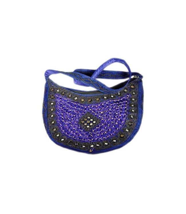 Umhängetasche mit Spiegelchen Halbrund in Blau-Violett