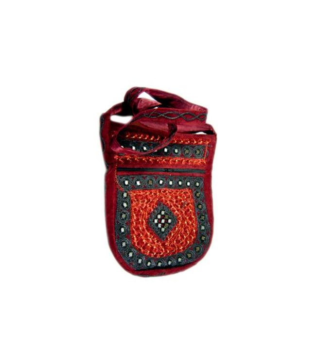 Shoulder bag handbag with embroidery Oriental Dark Red