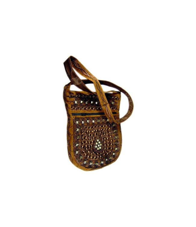 Shoulder bag handbag with embroidery Oriental Brown