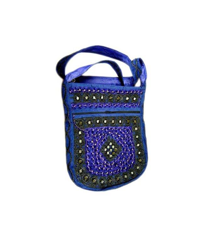 Shoulder bag handbag with embroidery Oriental Blue