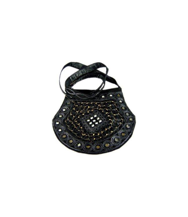 Umhängetasche Handtasche mit Stickerei Orientalisch Schwarz